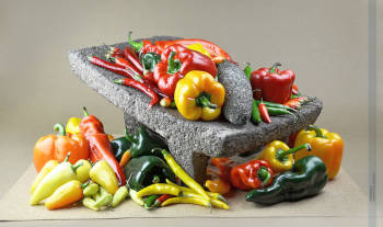molcajete with chili peppers