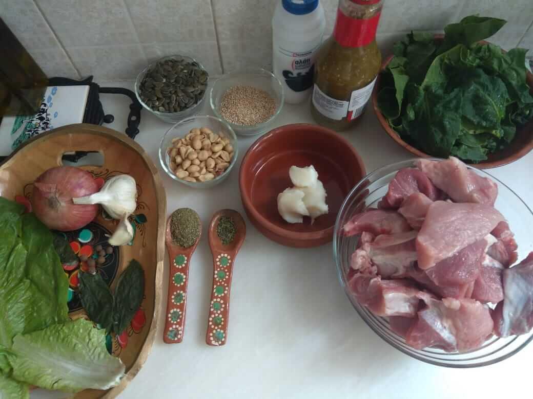 Ingredients to prepare green mole